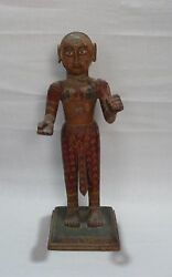 Old Antique Original Wooden Painted Lady Statue Collectible