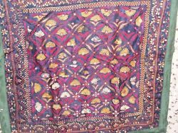 Antique Mughal Beautiful Hand Embroidery Square Table Cover/wall Hangingkutch