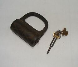 Old Antique Original Iron Engraved And Tricky Lock With Key Collectible