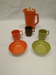 Vintage Tupperware Toys Mini Harvest Toy Dishes Mugs Bowls Pitcher Play 1399