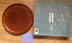 Gorgeous Japanese Wooden Lacquer Round Tray In Box