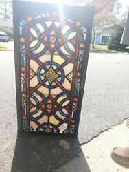 Antique Stained Glass Church Window 19c Beautiful