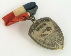 Antique Sterling Silver Williams Lakes Sports Medal Mountains Badge Pin Brooch