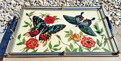 Vntg Awesome Butterfly Mid Century Reversed Painted And Wood Cocktail Serving Tray