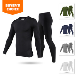 Mens Winter Ultra Soft Fleece Lined Thermal Top amp; Bottom Long John Underwear Set $17.99