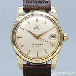 Omega Seamaster Calendar 1956 Cal.503 Automatic Leather Ss Menand039s Watch[b1101]