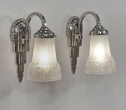 Muller Freres Pair Of 1930 French Art Deco Wall Sconces .. Lights Lamp France