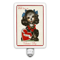 With Love On Valentine's Day Retro Cute Poodle Dog Vintage Style Night Light