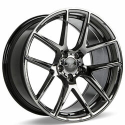 4ea 22 Staggered Ace Alloy Wheels Aff02 Black Chrome Rimss42