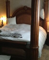 Solid Wood, Canopy Four Poster King-size Bedframe