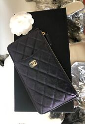 Brand New 19s Iridescent Black Caviar O-case Phone Pouch Wallet With Lghw