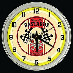16 Mean Old Bastards Hot Rods Motorcycles Sign Yellow Neon Clock
