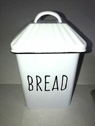 Bread Tin Creative Co-op Enameled Metal Distressed Box With Lid White Farm House