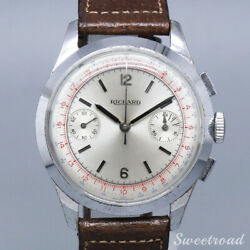 Richard Silver Manual Chronograph Leather Stainless Steel Menand039s Watch [b1102]