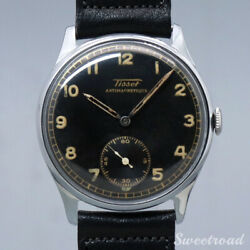 Tissot Black Dial Manual Leather Antimagnetique Stainless Menand039s Watch [b1102]