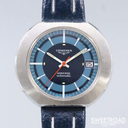 Longines Admiral Automatic Blue Dial Leather Stainless Steel Menand039s Watch [b1102]