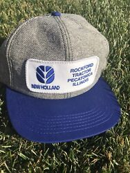 Vintage New Holland Tractor K-products Patch Denim Trucker Snapback Hat