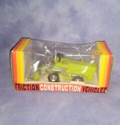 Vintage Marx Friction Construction Vehicles Green Bulldozer Tractor 1970's