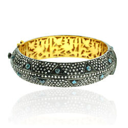 Multiclor Pave Diamond Solid 14k Gold Sterling Silver Designer Bangle Jewelry