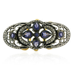 Iolite And Diamond Gemstone Knuckle Armor Ring 18k Gold Sterling Silver Jewelry
