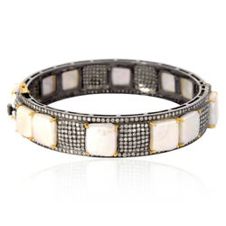 Natural Pearl And Pave Diamond Sterling Silver 18k Gold Bangle Fashion Jewelry