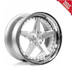 Set 20 Staggered Rennen Wheels Csl 7 Silver With Chrome Lip Rims S14