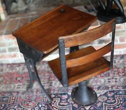 Antique 1930s Very Small Child's School Desk And Chair Maple Wood