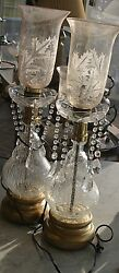 Two Vintage Victorian Table Lamps Crackle Glass Plus Engraved Hurricane Shades