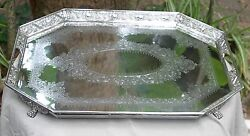 Antique 1866 Victorian Silver Plated Tray Ornate Hand Chased And Repousse