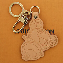 Louis Vuitton Panda Charm Key Ring Brown Leather France Authentic Ab602 O