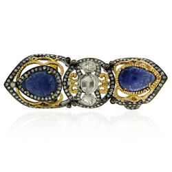 18k Gold 2.62ct Diamond Blue Sapphire Knuckle Ring 925 Silver Vintage Jewelry
