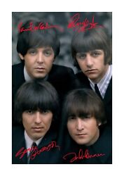The Beatles 16 A4 Reproduction Autographs Photograph Poster Choice Of Frame