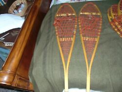 Vintage Wooden Snowshoes 48x12 With Leather Bindings Maine Log Cabin