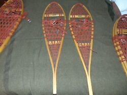 Vintage Wooden Snowshoes 42x11 With Leather Bindings Maine Log Cabin