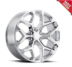 24 Chevy Truck Snowflake Wheels Fr 59 Chrome Oem Replica Rims 4ea/set S28