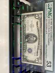 Error 《1953 5 Silver Certificate Offset Printing》 Extremely Super Top Rare!!