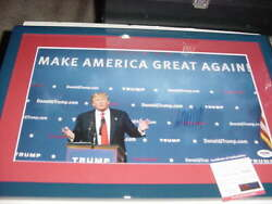 President Donald Trump Signed Auto Matted/framed 14x20 Maga Rally Photo Psa/dna