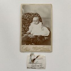 Antique Cabinet Card Photograph Baby Girl Lock Hair Memento Id Sperry Worcester