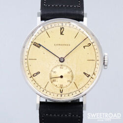 Longines Original Dial 1950s Smoseco Cal.12.68z Leather Ss Men's Watch[b1105]