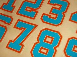 Miami Dolphins 1990s Football Helmet Numbers Decals 0-9 2 Full Size 3m 20mil