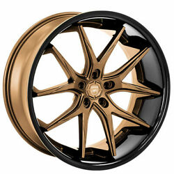 4ea 22 Lexani Wheels R-twelve Satin Bronze Center W Black Lip Rims S41