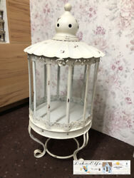 Chic Antique Garden Lantern On Feet With Lace Trimming Cream Large Shabby