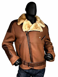 Jakewood Brown Sheepskin Belted Motorcycle Jacket Leather Patches And Trim
