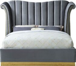 Contemporary Bedroom Furniture Gray Color Velvet Queen Size Bed Gold Nailheads