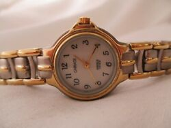 Carriage By Timex Watch Gold And Silver Two Toned Band Round White Face Elegant