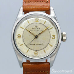 Rolex Oyster Royal Ref.6444 Leather Cal.1210 Stainless 1956s Menand039s Watch [b1107]