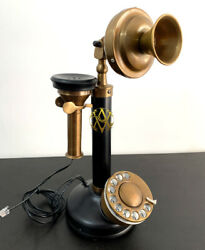 Antique Handmade Brass Phone Candlestick Telephone Rotary Dial Vintage Home Deco