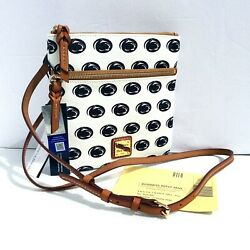 Dooney amp; Bourke Penn State Double Zip Crossbody White Blue New With Tags $128 $89.99