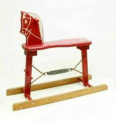 Antique Vintage Rare Early Safe-t-colt Wood Rocking Hobby Horse Toy Painted Red