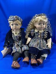 Limited Edition Cathy Depot Collection Twin Porcelain Dolls 1 -5000 Bob And Oora